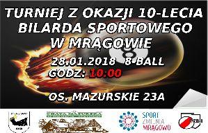 Turniej z okazji 10-lecia Bilarda Sportowego w Mrągowie