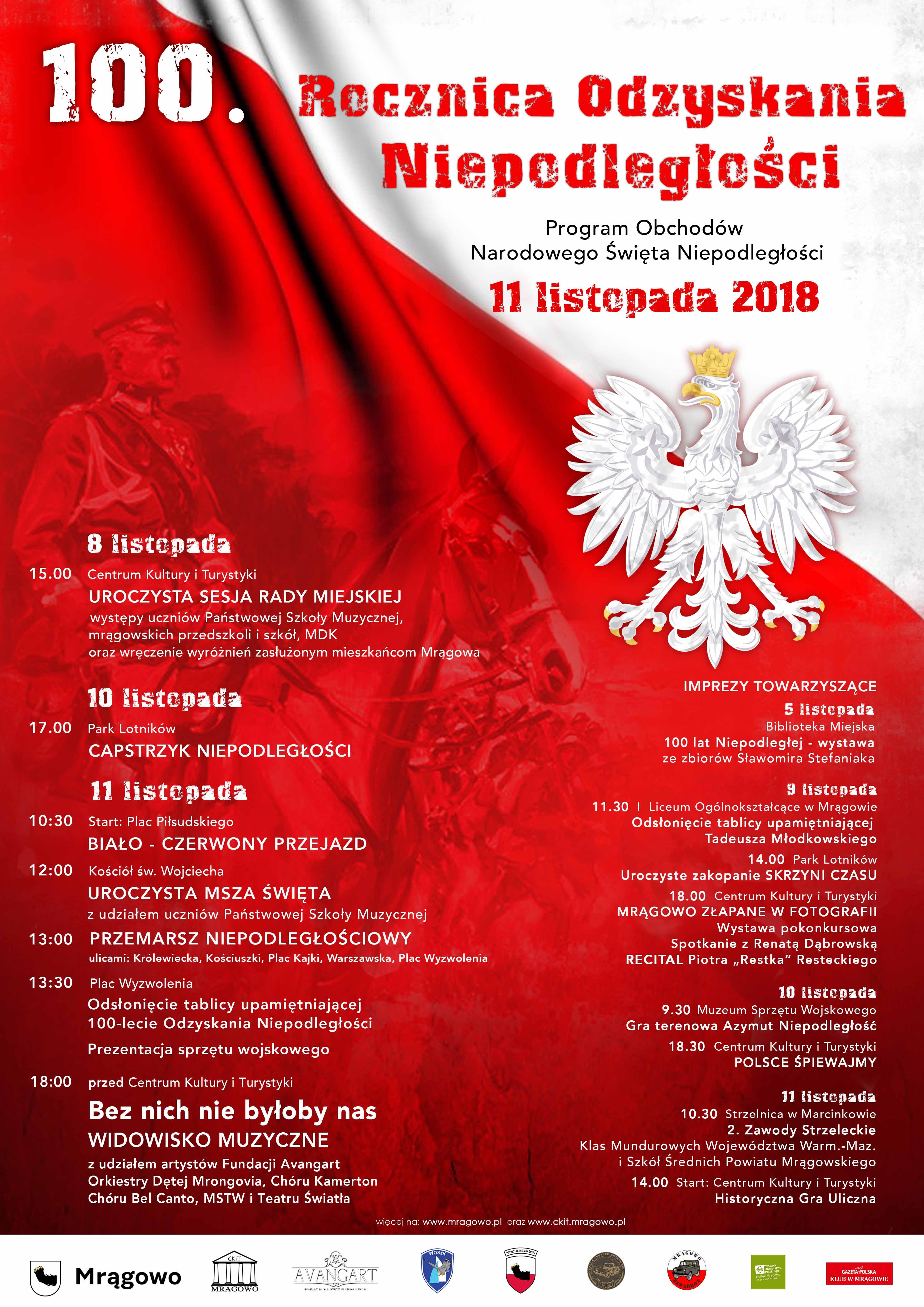 Program obchodów 100-lecia Niepodległości Polski w Mrągowie