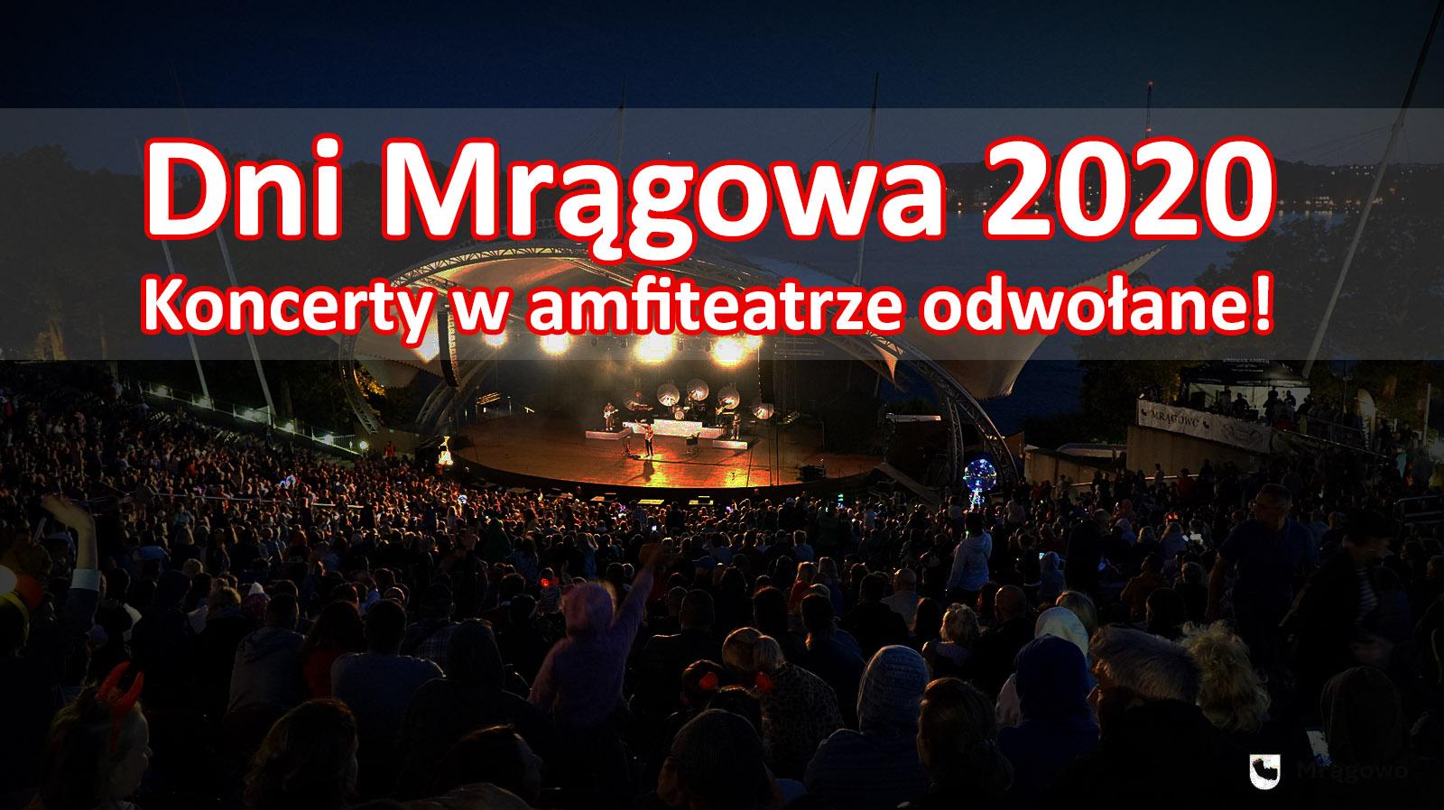 Dni Mrągowa 2020 bez dużych koncertów w amfiteatrze
